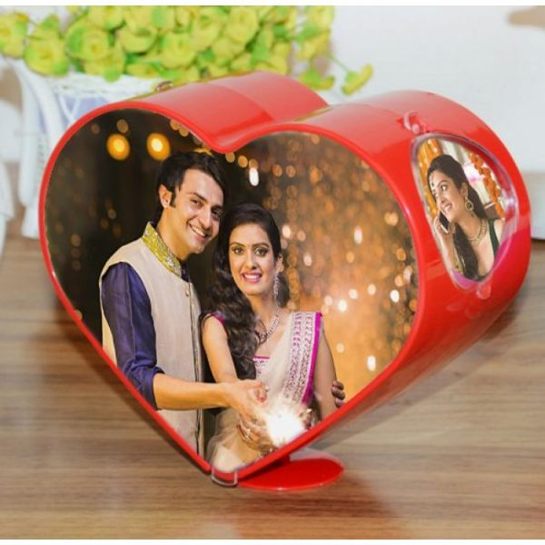 Personalized Spinning Heart Shaped Photo Frame